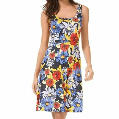 Women Colorful Floral Printed Square Neck Sleeveless Midi Vest Sundress