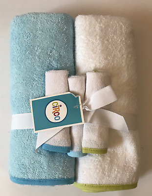 NEW Circo Baby 5-Piece Blue & White Bath Towel Set Baby Shower Gift Wrapped Bow