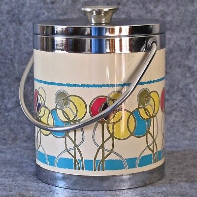 Funky Vinyl & Chrome Ice Bucket with Handle & Insulated Liner, Japan c.1970s