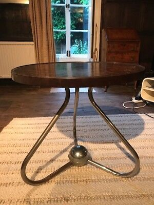 Unique & rare to see 1930's Bakelight Circular Lamp Table with Chrome base