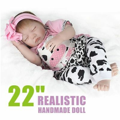 "22"" Touch Doll Silicone Vinyl Newborn Doll 22"" Lifelike Reborn Baby Girl Real FK"