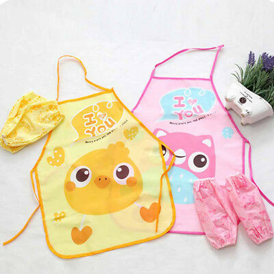 chef apron sets kids children cooking painting waterproof gowns eating clothes