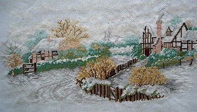 Completed Counted Cross Stitch Unframed Tapestry Picture Snow In The Countryside