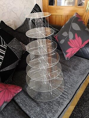 7 Tier Clear Acrylic Round Cup Cake Cupcake Stand Wedding Birthday Party
