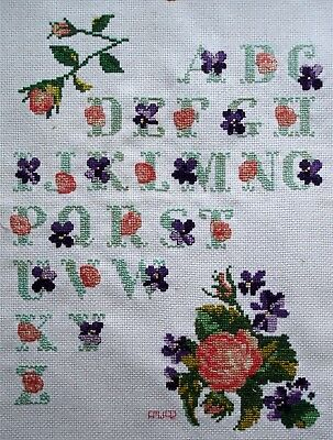 Completed Counted Cross Stitch Unframed Tapestry Picture Alphabet Floral Sampler