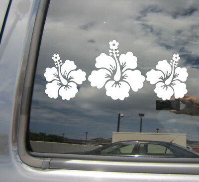 3 Hibiscus Flowers Hawaii Florida Tropical Car Window Vinyl Decal Sticker 05055