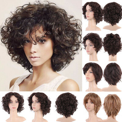 Fashion Short Curly Full Head Wig Heat Safe Layered Hair Wigs Brown Blonde Mix P