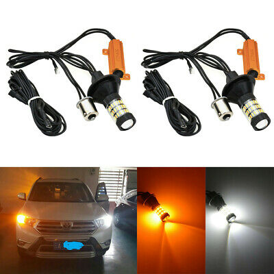 2x 60 LED Dual-Color Switchback Daytime Running DRL Turn Signal Light Bulb Kit