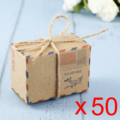 50x Vintage Envelope Candy Sweet Favour Boxes Holders Wedding Party Favor