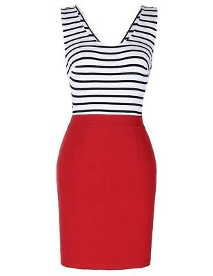 Women New Fashion Sleeveless Square-neck Hollowed Back Stripe Pencil Dress