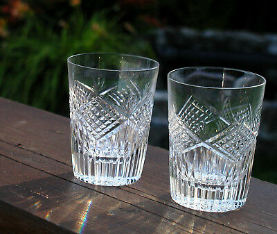 Pair Of Matching Irish Tyrone Crystal Whisky Tumblers Lovely Heavy Pair