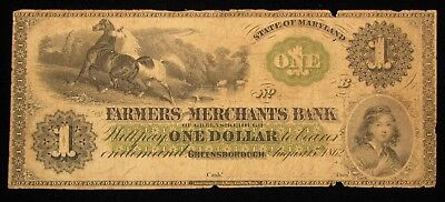1862 $1 Farmers And Merchants Bank Maryland Obsolete Note * US Paper Money