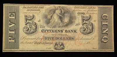 1800's $5 The Citizens' Bank Of Louisiana Obsolete Note UNC * US Paper Money