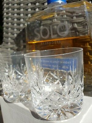 4 Quality Cut Glass Crystal Whisky Tumbler