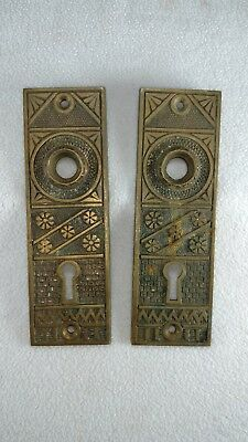#1 Antique Victorian Eastlake Escutcheon Cast Bronze Brass door knob back plates