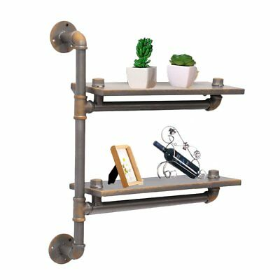 Wall-Mounted 2 Tier Urban Industrial Style Distressed Metal Pipework Shelves