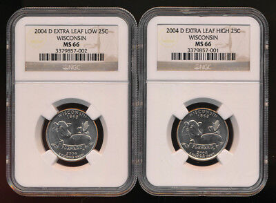 #rare# 2004-D Wisconsin Variety Set Extra High Leaf & Low Leaf (Ngc Ms66) No Rsv