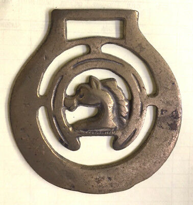 Antique / Vintage Horse Brass BRASSES Horse Inside of Horseshoe, Marked England