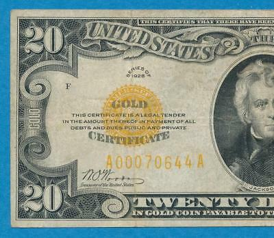 $20. 1928 Gold Seal Gold Certificate Average Circulated  Very Fine  No Reserve