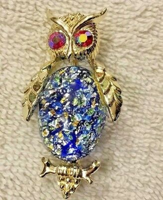 Vintage Jelly Belly Owl Pin-Red Aurora Borealis Eyes & Blue Confetti Glass Belly