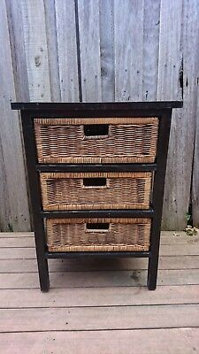 Bedside Table - Timber with Cane  Drawers