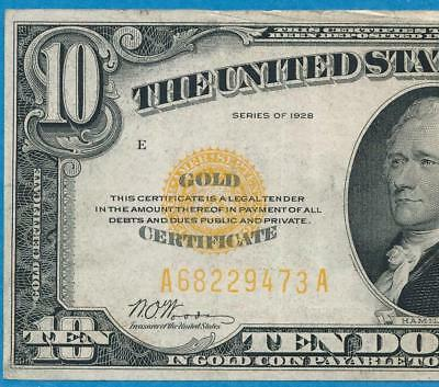 $10. 1928 Gold Seal Gold Certificate Average Circulated  Very Fine  No Reserve