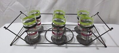 6 Vtg  Mid Century Modern Swanky Swigs Federal Glass Tumblers w/ Tippy Tim Caddy