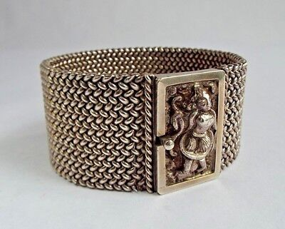 Antique Indian woven silver cuff bracelet deep carved goddess & snakes- 2 of 2