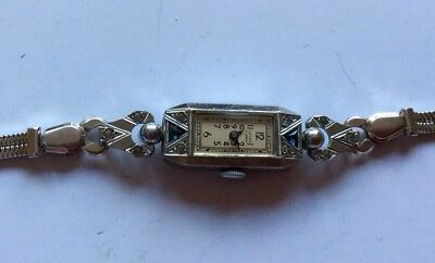 Ladies Vintage Art Deco Swiss Lever 15 Jewel Fond Acier Inoxydable Watch Working
