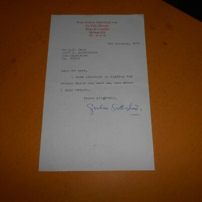 Graham Sutherland OM was an English artist Hand Signed Letter 1971