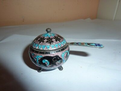 Vintage Middle Eastern/persian Enamel Elephant Design  Silver? Mustard Pot/spoon