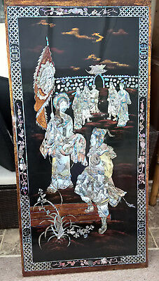 Chinese / Japanese /Oriental large wall hanging.  Mother of Pearl inlaid / inlay