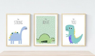 3 Cute Kawaii Dinosaur Trex Prints Modern Nursery Wall Word Art Decor Pictures