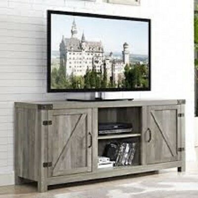 Rustic Farmhouse TV Stand Large Wood Country Modern Vintage Barn Side Doors New