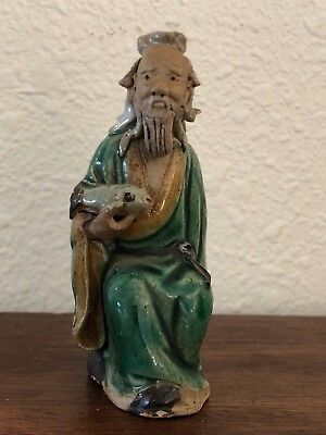 """Old Antique Chinese Seated Wiseman Mud Man Marked CHINA 3.25"""""""