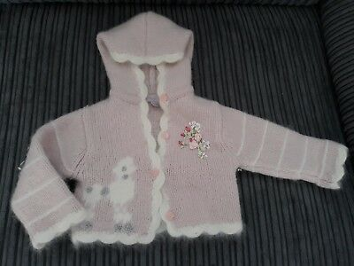 Baby girl Monsoon cardigan, lambswool, angora. 3-6 months, pink, white poodle