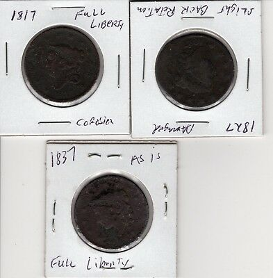 3 U.S.  Large One Cent Coins 1817 - 1827 - 1837 PENNIES