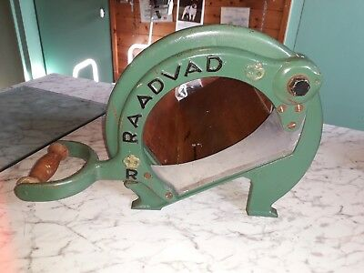 Raadvad Bread Cutter/guillotine Green,vintage Cast Iron & Wood Good Condition