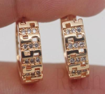 18K Gold Filled - Clear Topaz Symmetry Maze Hollow Pageant Women Hoop Earrings