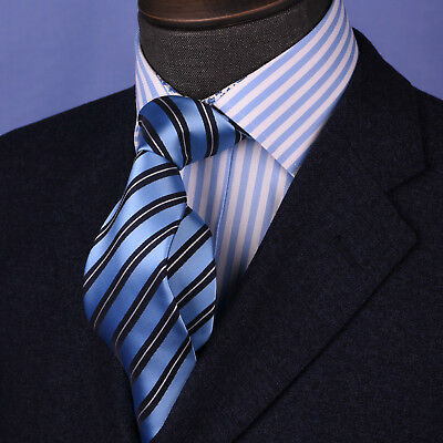 Stylish Blue Striped Necktie Classic Width Fit 8cm Tie Woven Luxury 3.15 Wide GQ
