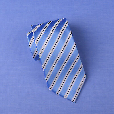 Light Blue Air Force Striped Classic Width Tie 8cm Necktie Standard Wide Fashion