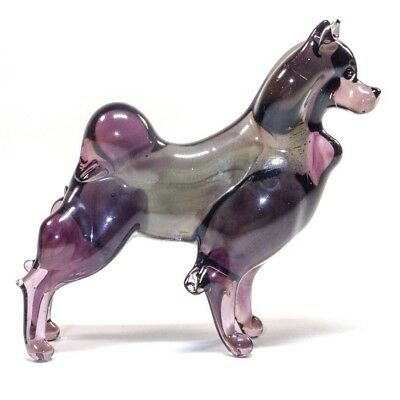 Spitz Glass Figurine. Murano Art. Blown Glass Handmade dog lampwork. VIDEO