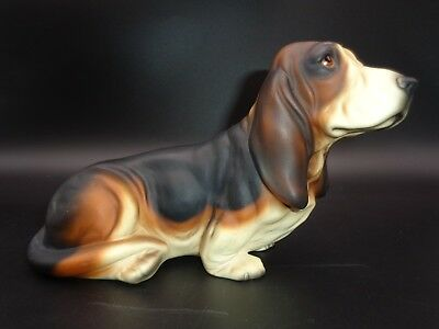 Harvey Knox ~ TRI-COLOR BASSET HOUND ~ Porcelain Figurine D240A