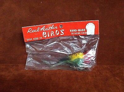 Vintage Hand Made Real Feather Multi Colored Parrot Bird SEALED ~ FREE SHIPPING