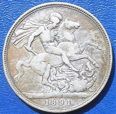.925 Silver 1891 Great Britain Crown KM#765 Victoria Dragon Slayer Nice # 743