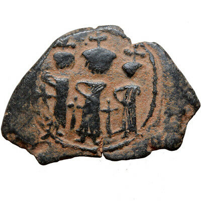 Arab Pseudo Byzantine Coin Ae Fals 638-647 Ad- Three Emperors Stunting Facing