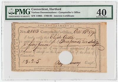 Connecticut Hartford  Comptroller's Office Oct 16, 1790 (PMG 40 XF) Interest Cet