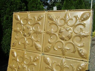 Fabulous Ornate Tin Ceiling, 4' x 2' w/ Mustard Color, Nice Overall Condition