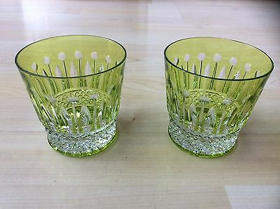 Two St. Louis Crystal Tommy Chartreuse Old Fashioned Tumblers Glasses