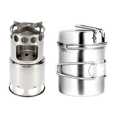 Camping Stove Cooking Camp Wood Heater Portable Stainless Steel For Picnic US